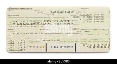 Airplane Passenger Ticket Receipt Isolated on White Background. - Stock Photo