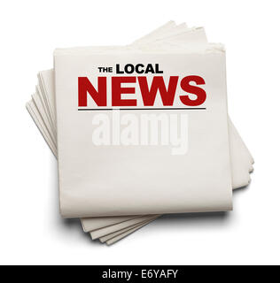 Stack of Blank Local News paper Newspapers Isolated on White Background. - Stock Photo