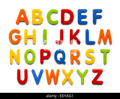 Magnetic Plastic Alphabet colorful ABC Letters Isolated on White Background. - Stock Photo