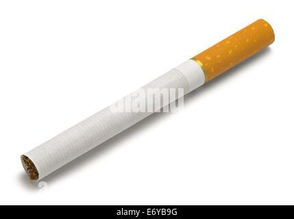 Single New Cigarette Isolated on White Background. - Stock Photo