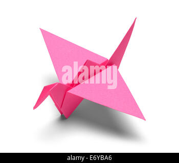 Pink Origami Paper Crane Isolated on White Background. - Stock Photo