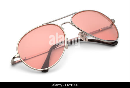 Classic Sun Glasses With Pink Lenses Isolated on White Background with Clipping Path. - Stock Photo