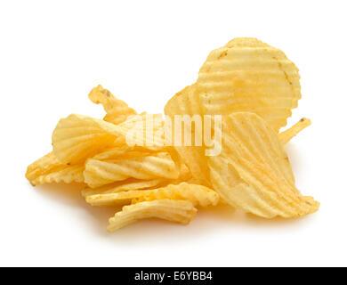 Pile of Wrinkled Wavy Potato Chips Isolated on White Background. - Stock Photo