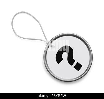 White Circle Tag with Question Mark Isolated on White Background. - Stock Photo