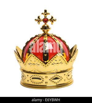Gold Kings Crown with Cross Isolated on White Background. - Stock Photo