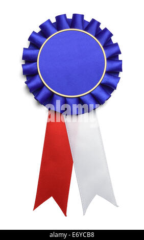 Large Round Red White and Blue Ribbon Isolated on White Background. - Stock Photo