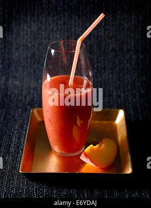 Peach,banana and strawberry juice - Stock Photo