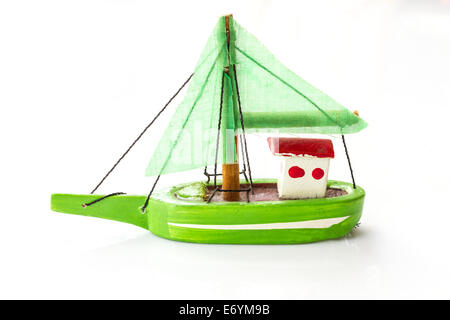 Little fishing ship model isolated on a white background. - Stock Photo
