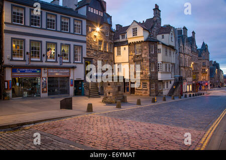The John Knox and Moubray homes (oldest homes in town) along a deserted Royal Mile Street, Edinburgh, Lothian, Scotland - Stock Photo