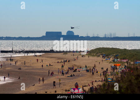 Southwold beach with Sizewell nuclear power station in the distance, Suffolk, UK - Stock Photo