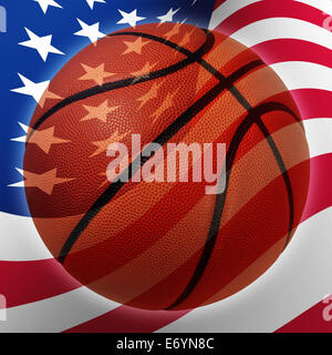American basketball symbol  with a United States flag in the background as a sports icon and fitness symbol of team - Stock Photo
