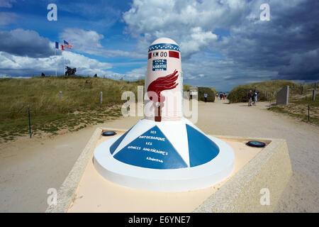 Utah Beach memorial - marks the start of 'The Road to Liberty' 6th June1944. - Stock Photo