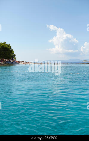 Beautiful exclusive beach on Otok Marinkovac island near Hvar, Croatia. This beach is only accessible but boat. - Stock Photo