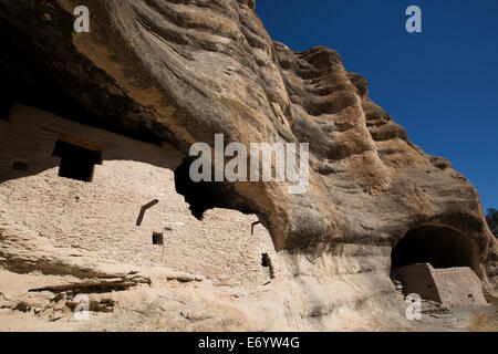 USA, New Mexico, Gila Cliff Dwellings National Monument, constructed over 700 years ago - Stock Photo