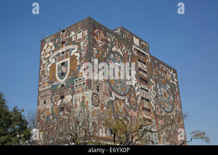 Mexico, Mexico City, National Autonomous University of Mexico, Central Library, tiled fresco by Juan Gorman - Stock Photo