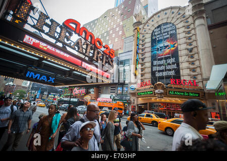 The AMC 25 Theatres and the Regal Cinemas in Times Square in New York are seen on Saturday, August 30, 2014. - Stock Photo
