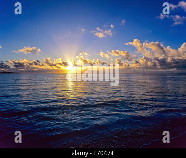 Sunrise over Caribbean sea, Guadeloupe, French West Indies - Stock Photo