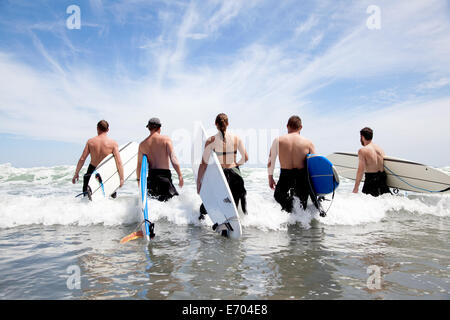 Rear view of a group of male and female surfer friends wading into sea with surf boards - Stock Photo