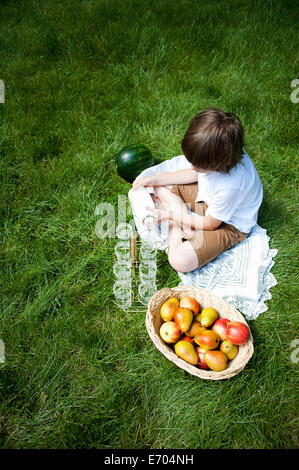 Overhead view of boy cross legged on grass pouring milk into glasses - Stock Photo