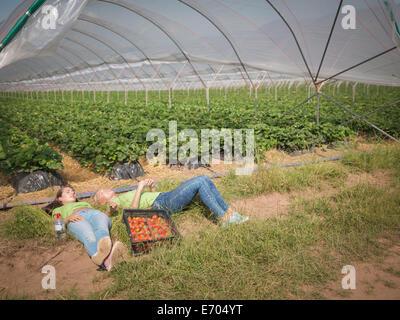 Strawberry pickers resting near polytunnel of fruit farm