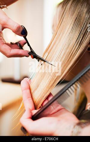 Woman having haircut in salon - Stock Photo