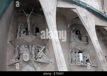 Passion Facade of the Sagrada Familia in Barcelona, Catalonia, Spain. - Stock Photo
