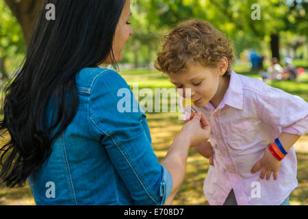 Young mother and son smelling flower in park - Stock Photo