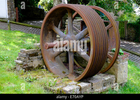 Old rope drum from a local mill, Luddenden, West Yorkshire - Stock Photo