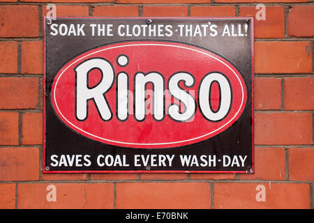 Old enamel Rinso advertising sign. - Stock Photo