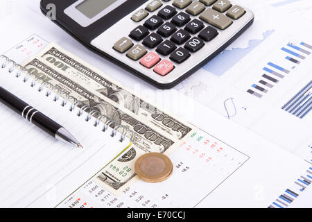Finance concept, financial and stock market graphs, charts analysis on business table for growth. - Stock Photo