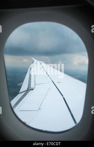 View from a window seat, airplane Heathrow to Dusseldorf, - Stock Photo