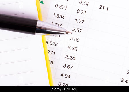 Financial Data Analysis With Notebook And Pen Top View Stock Photo