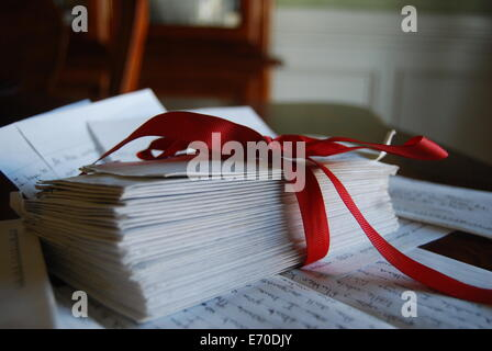 Love Letters Tied with a Ribbon - Stock Photo