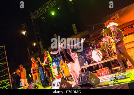 Rock band Corizonas performing live on stage at the 'Sierra nevada por Todo lo Alto' pop-rock festival - Stock Photo