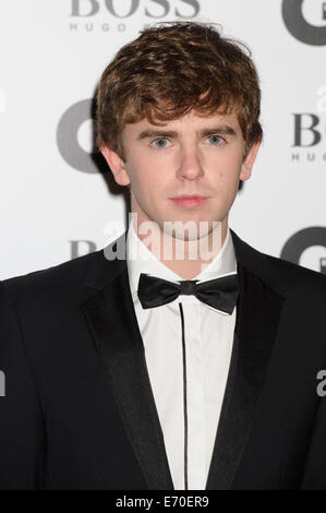 Freddie Highmore arrives for the GQ Men Of The Year Awards 2014. - Stock Photo