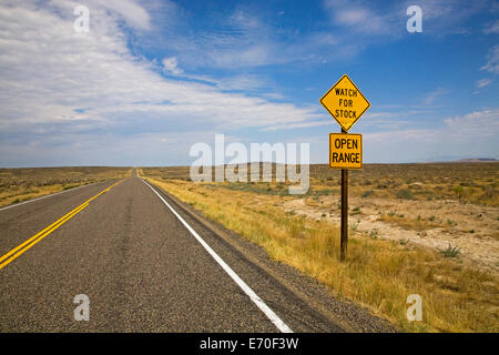 Open range or range land for cattle ranching in the west in Western Idaho along the Snake River - Stock Photo