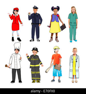 Children Wearing Future Job Uniforms - Stock Photo