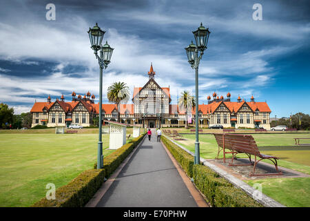 Bathhouse in the Government Gardens, Rotorua Museum of Art and History, lanterns in front, Rotorua, North Island, - Stock Photo