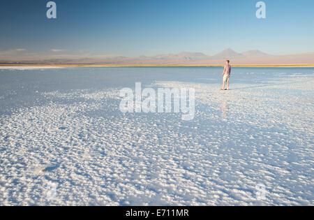 Man enjoying view, Laguna Salada, Salar de Atacama, El Norte Grande, Chile - Stock Photo