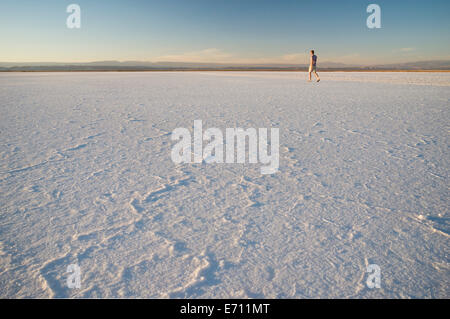 Man walking, Laguna Salada, Salar de Atacama, El Norte Grande, Chile - Stock Photo