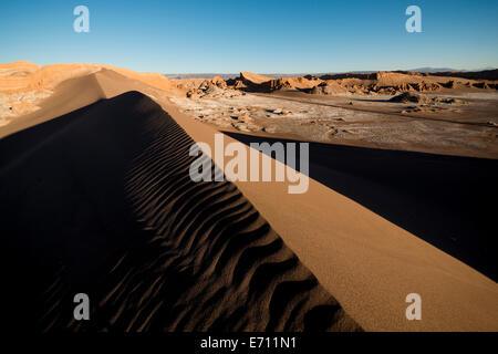 View from Sand Dune (Duna Mayor) at dawn, Valle de la Luna (Valley of the Moon), Atacama Desert, El Norte Grande, - Stock Photo
