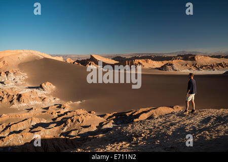Man enjoying view, Sand Dune (Duna Mayor), Valle de la Luna (Valley of the Moon), Atacama Desert, El Norte Grande, - Stock Photo
