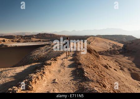 Man hiking, Sand Dune (Duna Mayor), Valle de la Luna (Valley of the Moon), Atacama Desert, El Norte Grande, Chile - Stock Photo