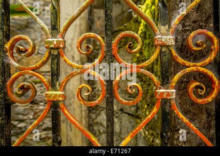 vintage wrought iron fence closeup details - Stock Photo