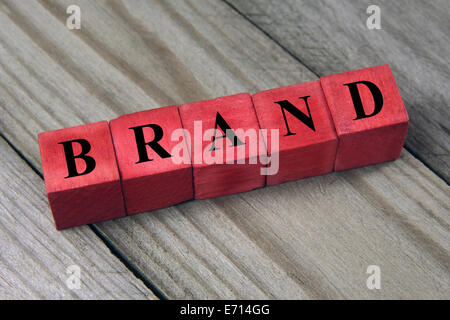 word brand on red wooden cubes