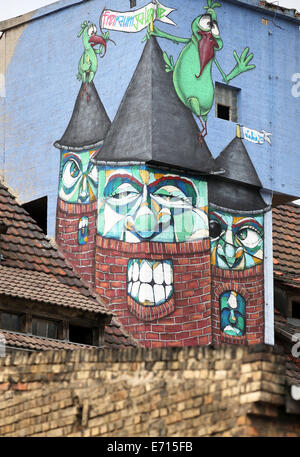 A graffiti is pictured at a former industrial building during the 'All you can paint' festivals in Halle/Saale, - Stock Photo