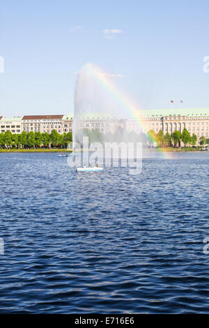 Germany, Hamburg, Inner Alster Lake and Alster fountain - Stock Photo