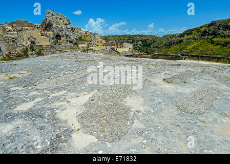 Italy Basilicata Matera The roof of the Rupestrian Church of Santa Lucia alle Malve was once used as a burial ground - Stock Photo