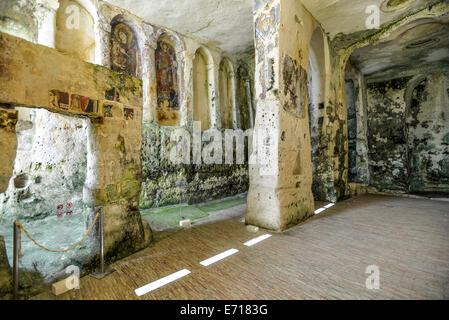 Italy Basilicata Matera Rupestrian Church of Santa Lucia alle Malve - Stock Photo