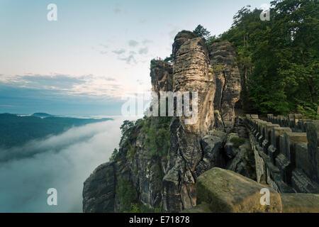 Germany, Saxony, Elbe Sandstone Mountains, Bastei Bridge - Stock Photo